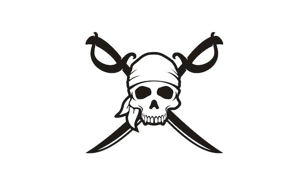 Skull & crossing swords logo dei pirati