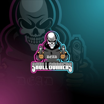 Skull gunners esport mascot logo template