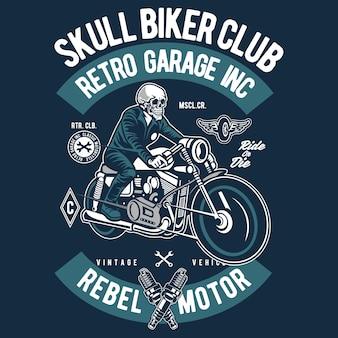 Skull retro biker