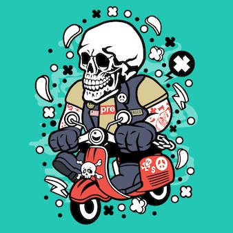 Skull scooterist cartoon