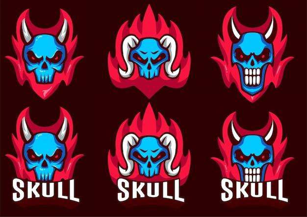 Skull set logo template moderno