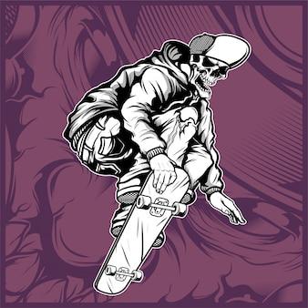 Skull skateboard mano disegno vettoriale