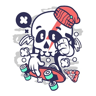 Skull skateboarding cartoon
