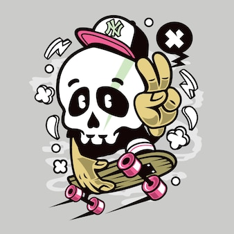 Skullboard skateboarding cartoon