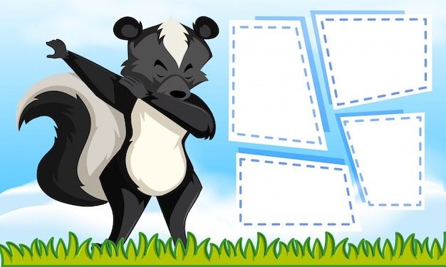 Skunk su sfondo di nota