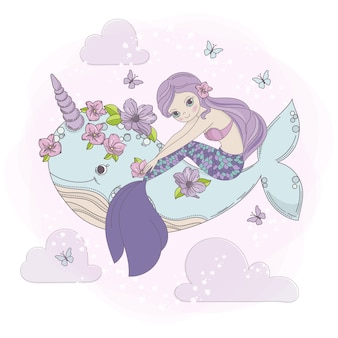 Sky mermaid sea princess dream cartoon