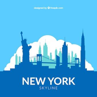 Skyline blu di new york