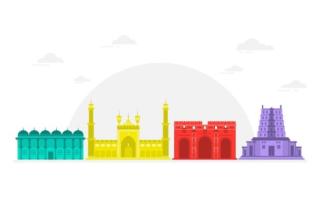Skyline colorato di ahmedabad