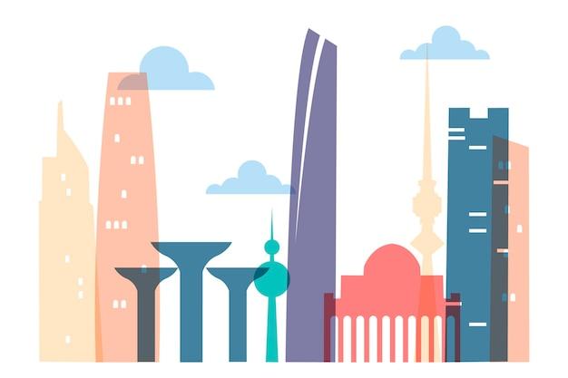 Skyline colorato di kuwait