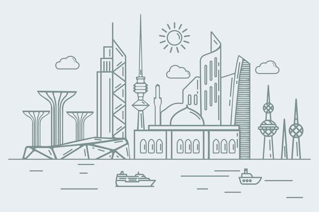 Skyline del kuwait in stile lineare