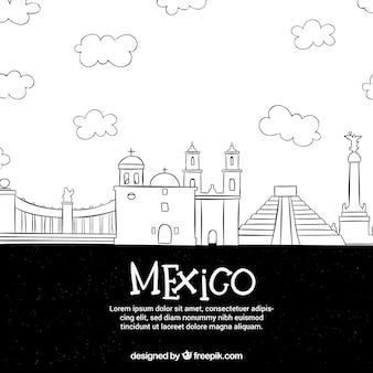 Skyline del messico in stile doodle