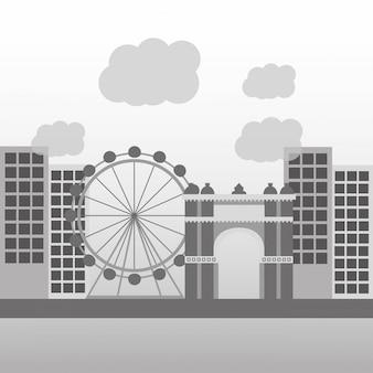 Skyline della città architettura di barcellona con monumenti famosi