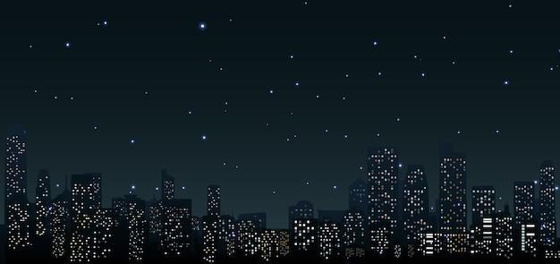 Skyline della città di notte a scena urbana