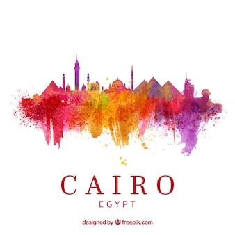 Skyline di cairo acquerello con stile elegante