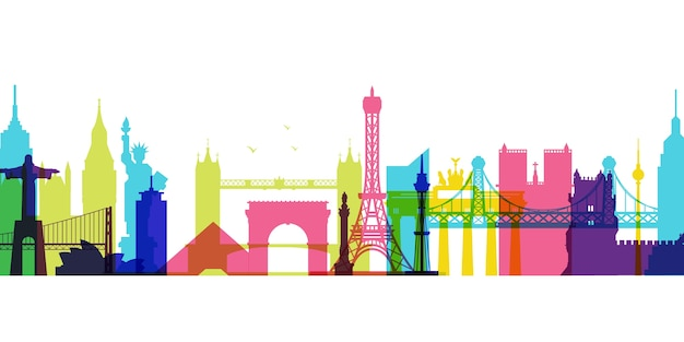 Skyline di monumenti colorati