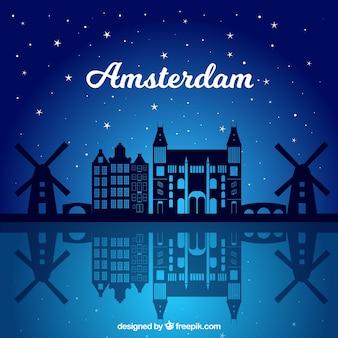 Skyline di notte di amsterdam