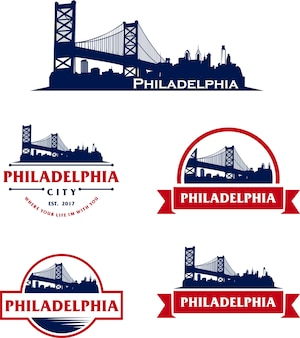 Skyline di philadelphia usa paesaggio urbano logo