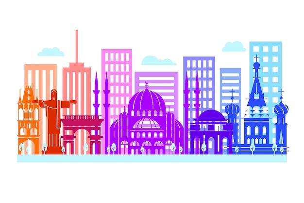 Skyline di punti di riferimento colorati creativi