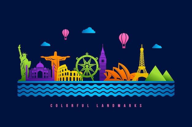 Skyline di punti di riferimento con design colorato