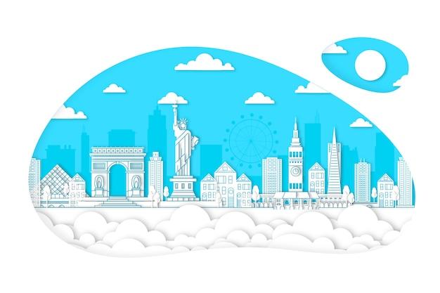 Skyline di punti di riferimento in stile carta