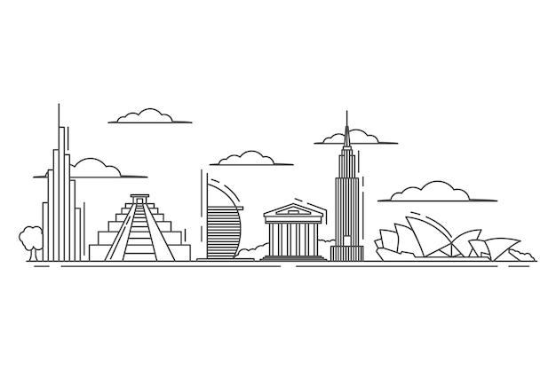 Skyline di punti di riferimento in stile contorno