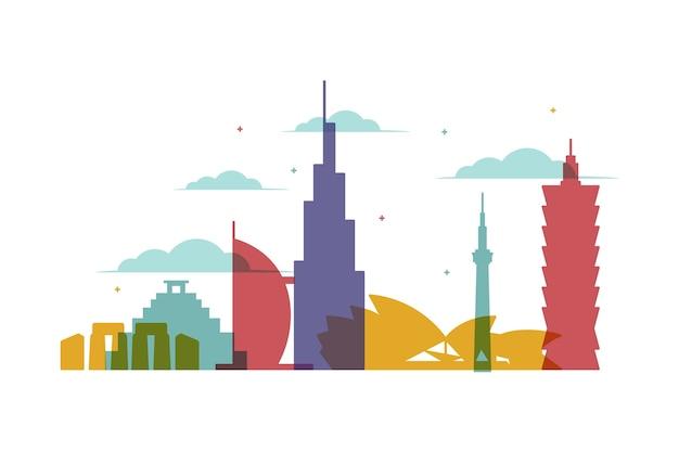 Skyline di punti di riferimento multicolori