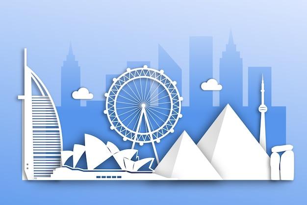 Skyline di punti di riferimento nel design di carta