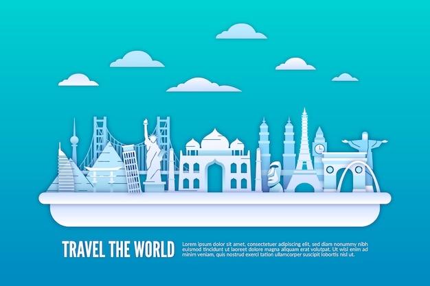 Skyline di punti di riferimento nel design in stile carta