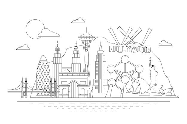 Skyline di punti di riferimento nel profilo