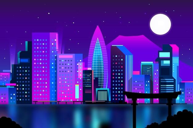 Skyline di tokyo sfumato con colori al neon