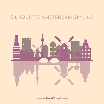 Skyline silhouette di amsterdam