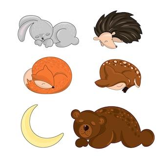Sleeping forest animali illustrazione di autunno