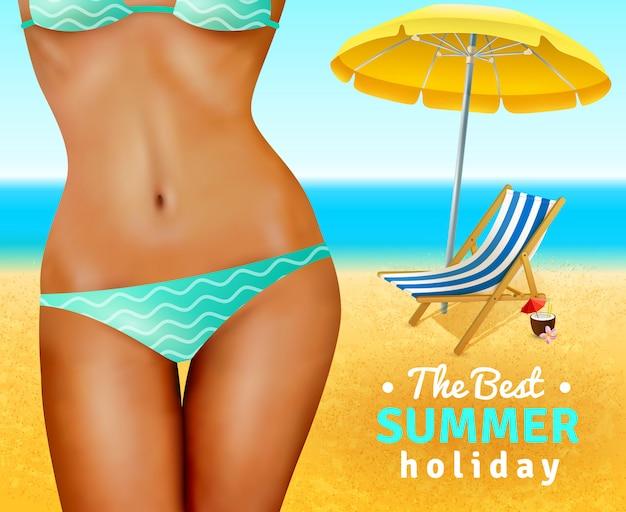 Slim donna sexy sulla spiaggia