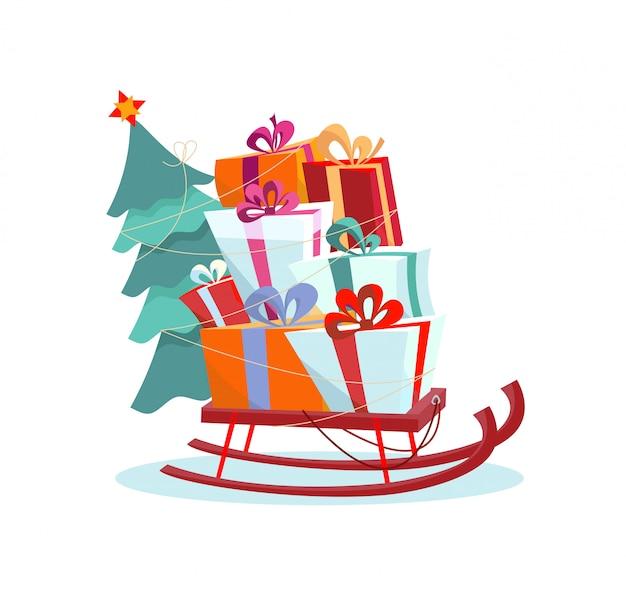 Slitta per bambini con un mucchio di regali e un albero di natale su bianco