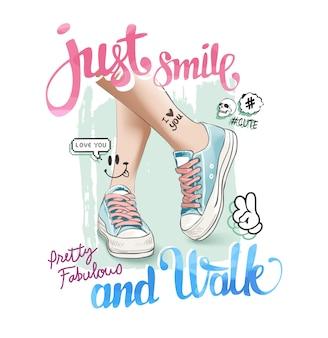 Slogan con gamba su illustrazione di scarpe da ginnastica
