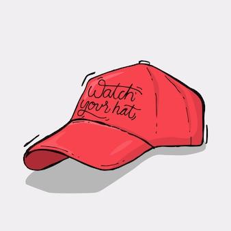 Slogan con l'illustrazione del cappello rosso