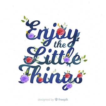 Slogan con sfondo di fiori disegnati a mano