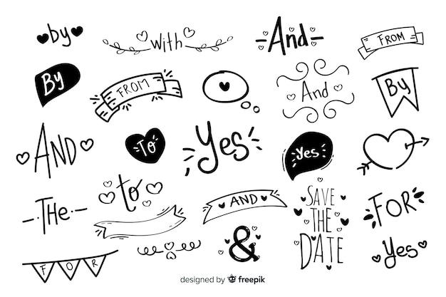 Slogan di nozze disegnati a mano adorabile