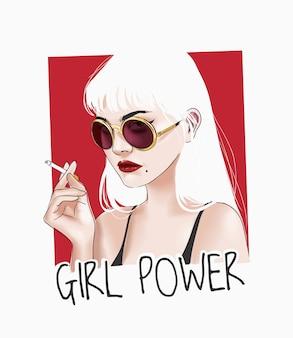 Slogan di potere della ragazza con la ragazza in occhiali da sole che tengono l'illustrazione della sigaretta