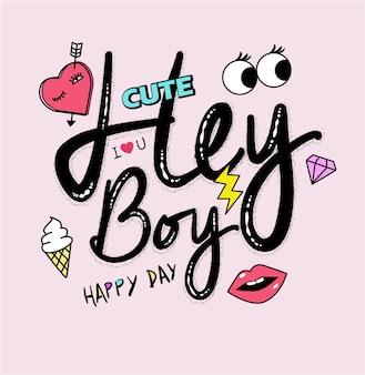 Slogan di tipografia con icone carino girly