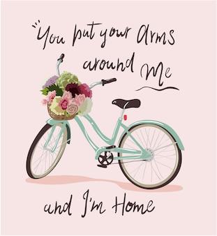 Slogan di tipografia con illustrazione della bicicletta