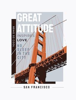 Slogan di tipografia con illustrazione di ponte