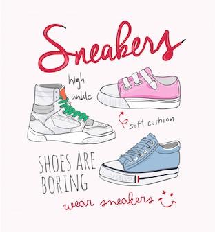 Slogan di tipografia con illustrazione di sneakers