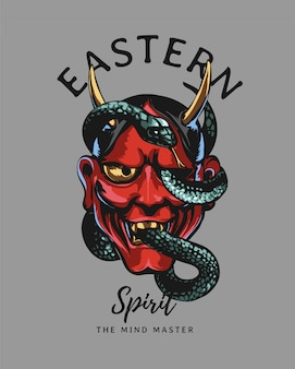 Slogan di tipografia con maschera malvagia rossa giapponese e illustrazione del serpente