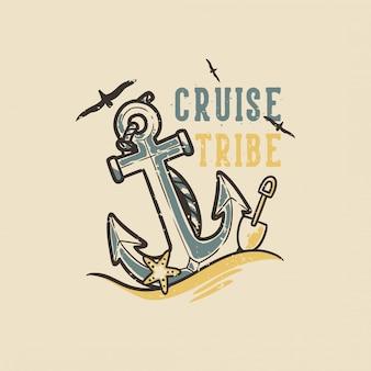 Slogan tipografia vintage design tribù da crociera