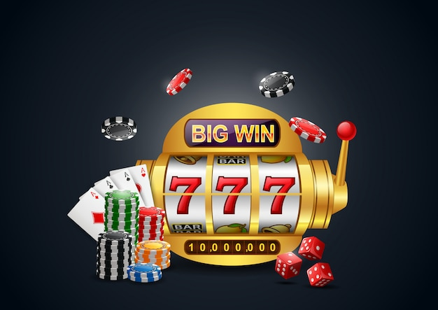 Slot machine 777 con grandi vincite, casinò con chip poker, dadi e carte da gioco.