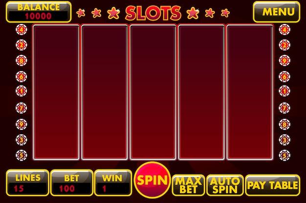 Slot machine con interfaccia di colore nero-rosso. menu completo di interfaccia utente grafica e set completo di pulsanti per la creazione di giochi da casinò classici.