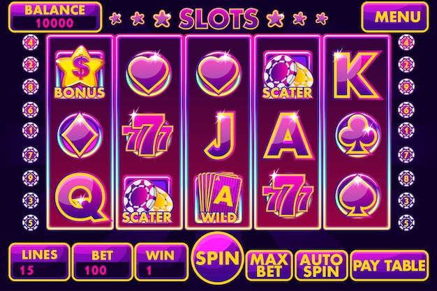 Slot machine con interfaccia vettoriale di colore viola.