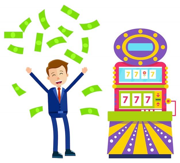 Slot machine e giocatore felice con il casinò dei soldi