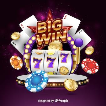 Slot machine grande concetto di vittoria in stile realistico